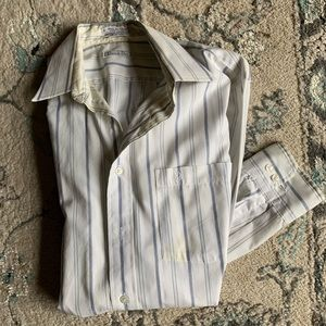 Men's Dior Button up stripe white blue shirt